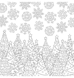 hand drawn snowflakes Christmas tree vector image