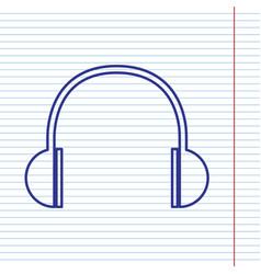 headphones sign navy line vector image
