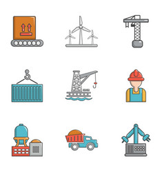 Heavy industry icons set cartoon style vector