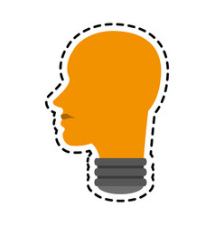 Human head shape lightbulb idea icon image vector