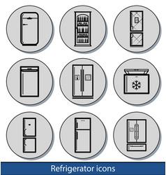 Light refrigerator icons vector