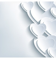 Modern background grey with paper 3d hearts vector image