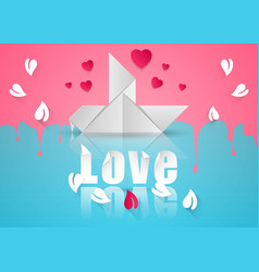 paper hearts valentines day dove icon vector image