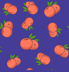 Seamless pattern peach on purple background vector