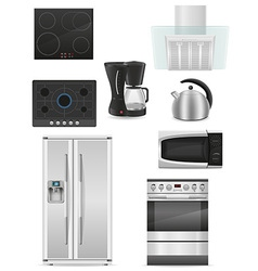 set of kitchen appliances 01 vector image