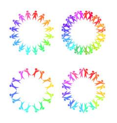 set of round frames with rainbow people holding vector image