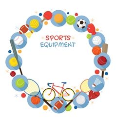 Sports equipment flat icons frame vector