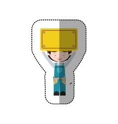 Sticker avatar worker black hair with toolkit and vector