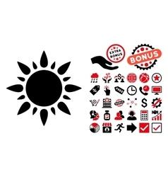 Sun Flat Icon with Bonus vector image