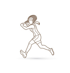 Tennis player running woman play tennis outline vector