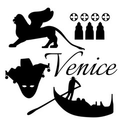 venice flat icons vector image vector image