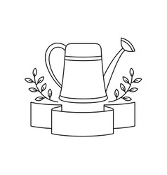Vintage watering can with ribbon emblem vector
