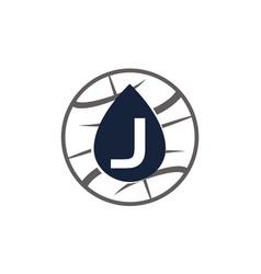 Water oil world letter j vector
