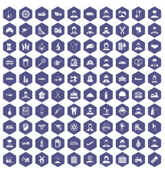100 job icons hexagon purple vector
