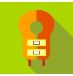 Orange lifevest icon flat style vector