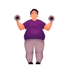 Fat man training with dumbbells doing vector