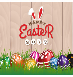 Happy easter woodboard greeting card vector