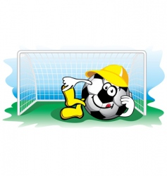 soccer ball in the goal vector image