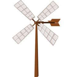 wind propeller on wooden pole vector image