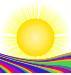 sun and rainbow vector image