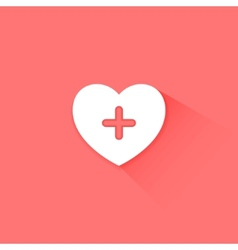 Heart health care red icon vector