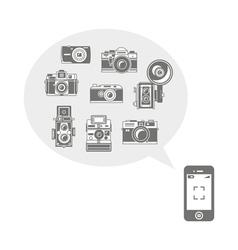 Retro photo cameras in phone vector