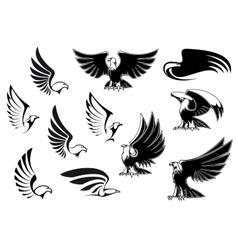 Eagles for logo tattoo or heraldic design vector image