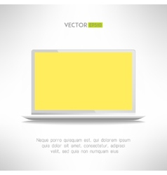 Realictic light laptop computer with yellow screen vector