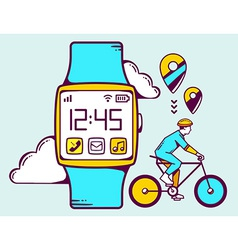 Blue smart watch with cyclist and cloud vector