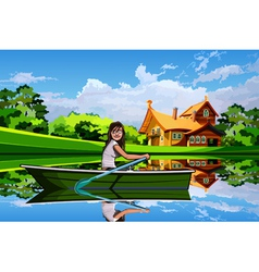 Girl in a boat on a background summer landscape vector