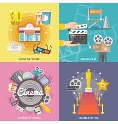 Cinema 4 flat icons square composition vector