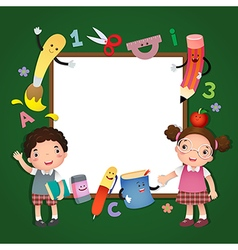 Back to school school kids with a sign board vector