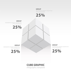 Cube infographic template bottom view white color vector