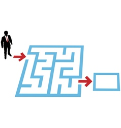 Help a business person find a way through a maze p vector