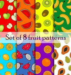 Set of seamless fruit and berry pattern vector