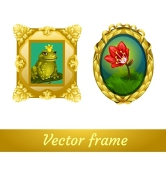 Pattern in a gold frame frog and flower vector