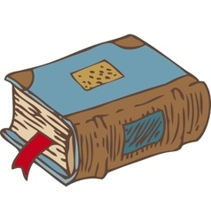 Closed book with bookmark and blue cover vector