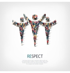 Respect people sign 3d vector