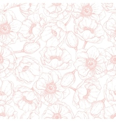 pink anemone seamless pattern Hand drawn vector image