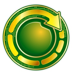 Abstract green round icon with gold arrow vector image