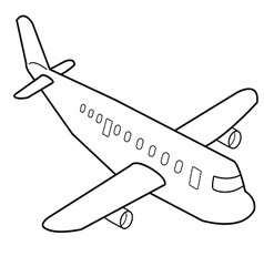 Airplane cartoon outline vector image vector image