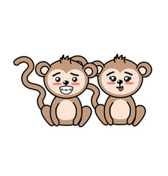 Beautiful cute animals with expression face vector