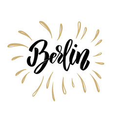 berlin hand drawn lettering on white background vector image vector image