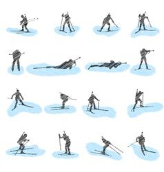 biathlon silhouette sketch vector image vector image