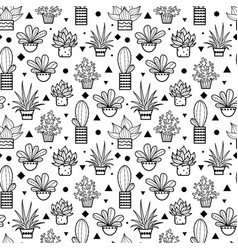 black seamless repeat pattern with growing vector image vector image