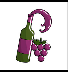 Bottle splashing wine with bunch grapes icon vector