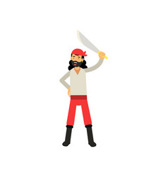Cartoon character of brave bearded pirate raised vector