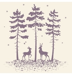 deer and forest vector image vector image