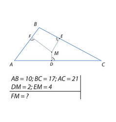 Find the distance from the point m to the f vector