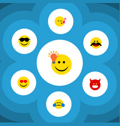 Flat icon expression set of cold sweat love vector